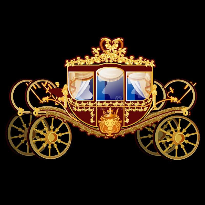 Carro del caballo del vintage con el ornamento florido de oro aislado en un fondo negro Ilustración del vector ilustración del vector