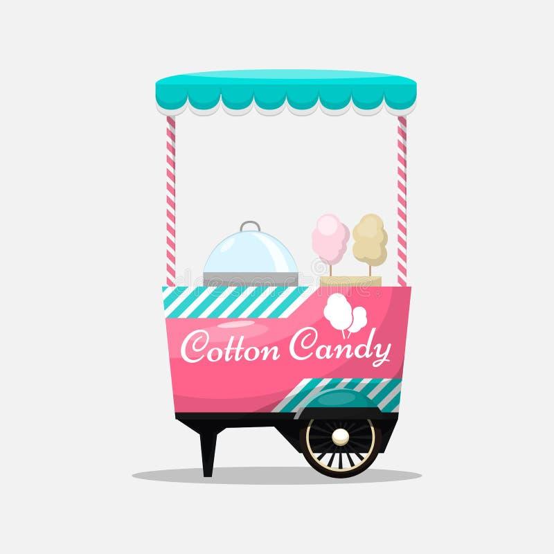 Carro del caramelo de algodón, quiosco en las ruedas, venta al por menor, dulces y confectio libre illustration
