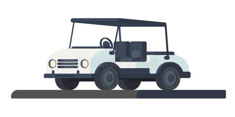 Carro del club de golf Transporte para el movimiento durante el juego y la competencia en el campo de golf Carro o coche de golf  ilustración del vector