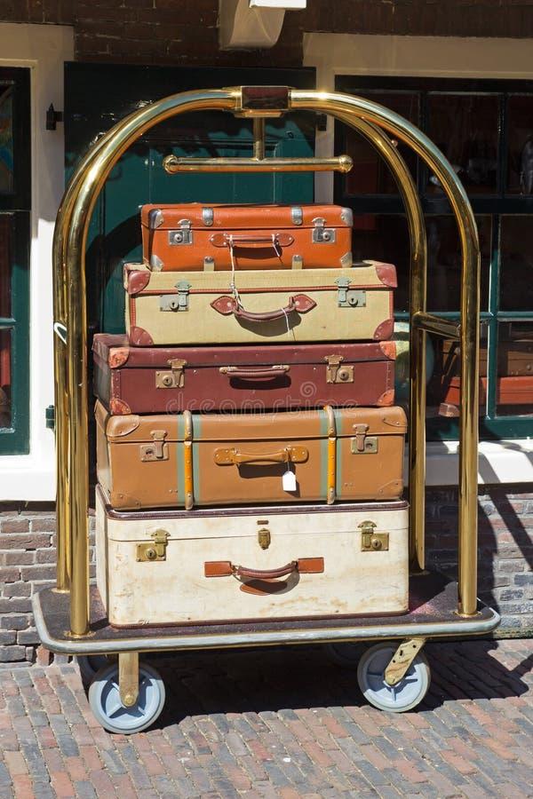 Carro del equipaje de los botones fotografía de archivo