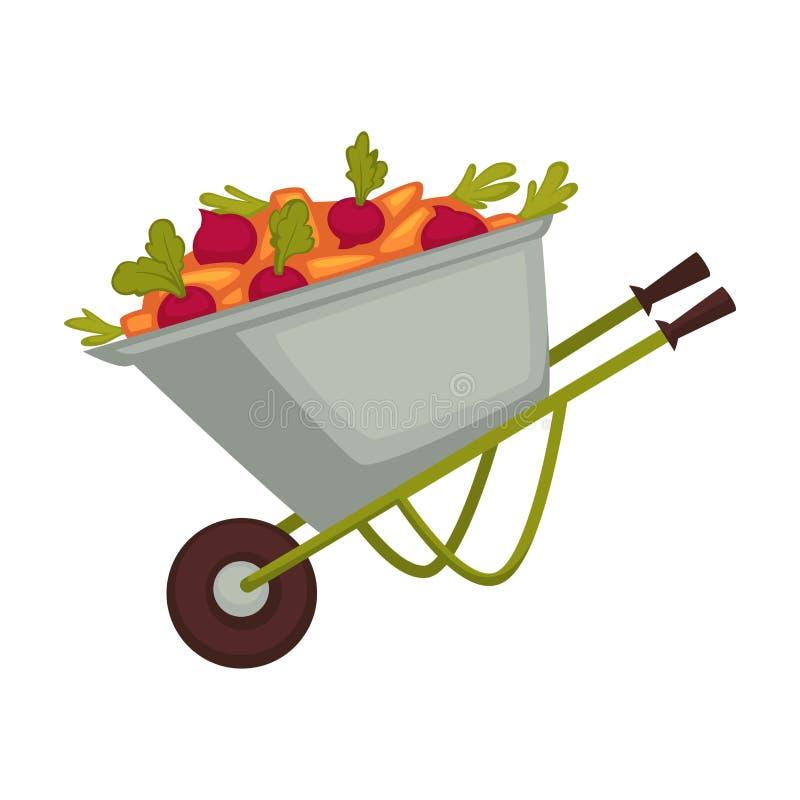 Carro del granjero con las verduras orgánicas de los productos de la cosecha colocadas en la carretilla para el transporte y pres stock de ilustración