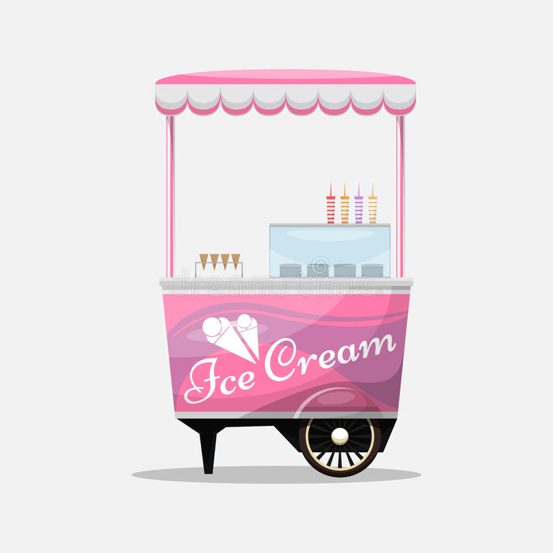 Carro del helado, quiosco en el ejemplo de las ruedas, de los minoristas, de los postres de la lechería, aislado y plano del esti libre illustration