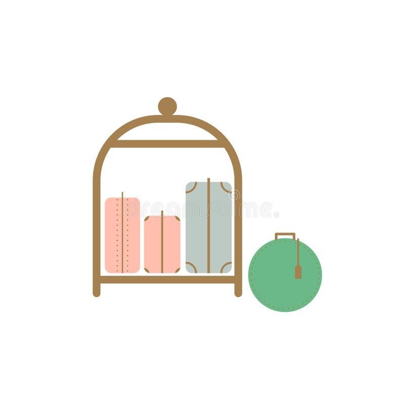 Carro del hotel del equipaje de la carretilla con el equipaje aislado en el vector blanco libre illustration