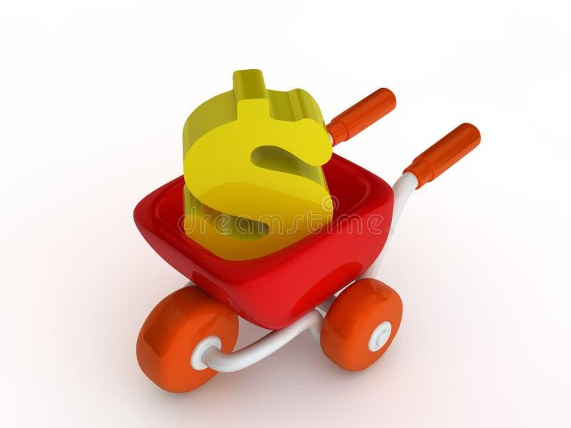 Carro del mercado con el dinero ilustración del vector