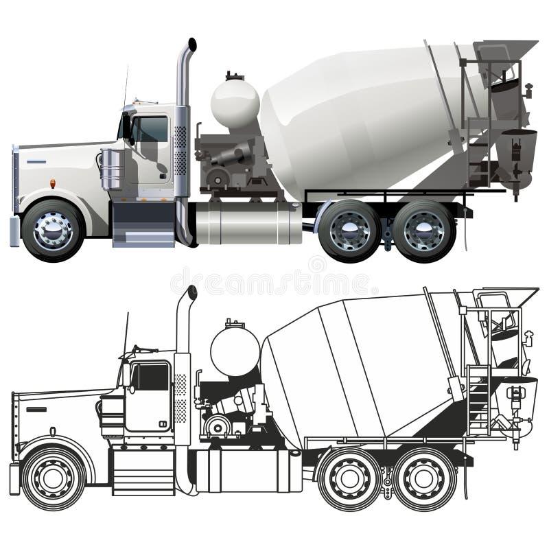 Carro del mezclador concreto stock de ilustración