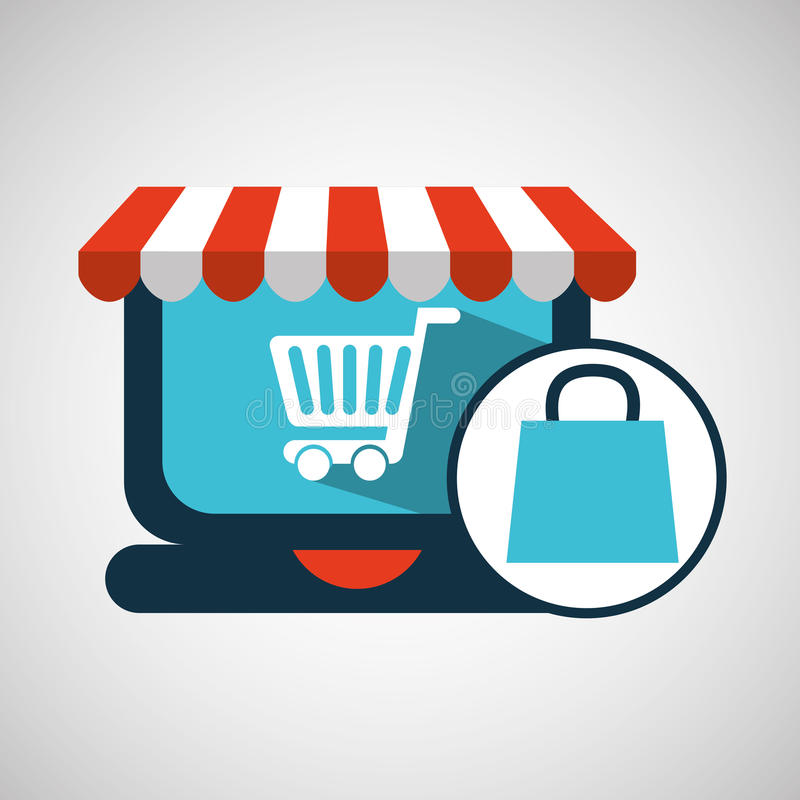 Carro del regalo del bolso del concepto del comercio electrónico libre illustration