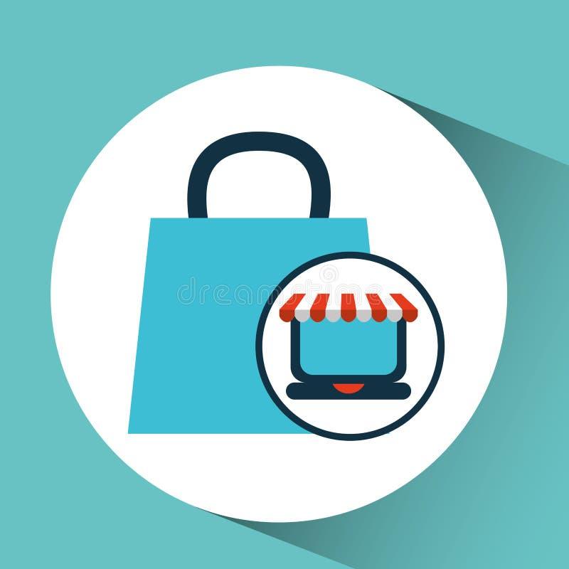 Carro del regalo del bolso del concepto del comercio electrónico ilustración del vector