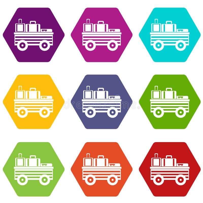 Carro del servicio con el hexahedron determinado del color del icono del equipaje ilustración del vector
