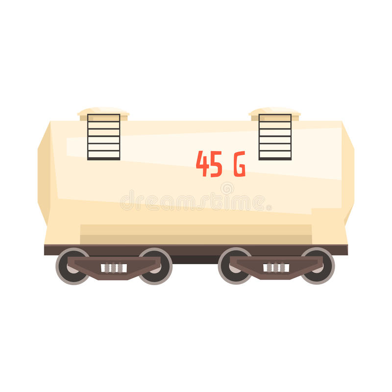 Carro del tanque blanco del ferrocarril Ejemplo colorido de la historieta libre illustration
