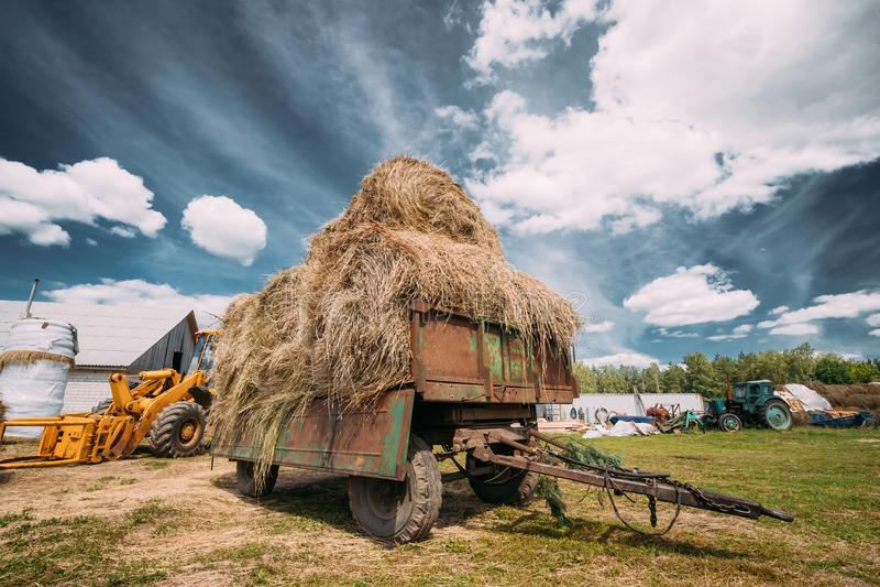 Carro del tractor con la hierba seca Straw Bales In Backyard Equipo agrícola especial imagen de archivo libre de regalías