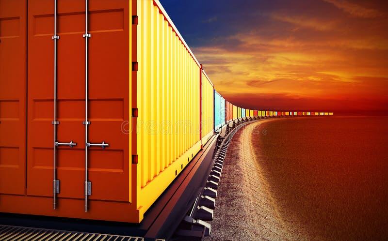 Carro del tren de carga con los envases ilustración del vector