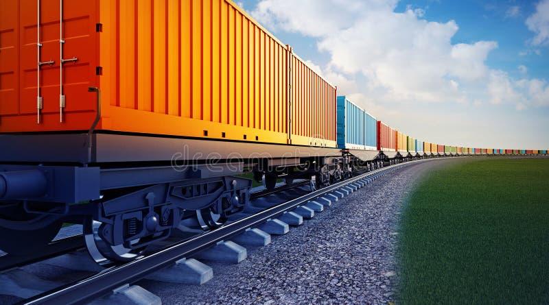 Carro del tren de carga con los envases stock de ilustración