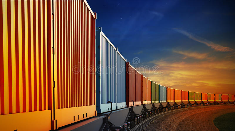 Carro del tren de carga con los envases en el fondo del cielo stock de ilustración