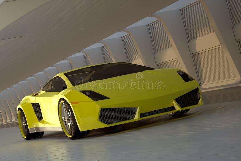 Carro desportivo amarelo ilustração stock