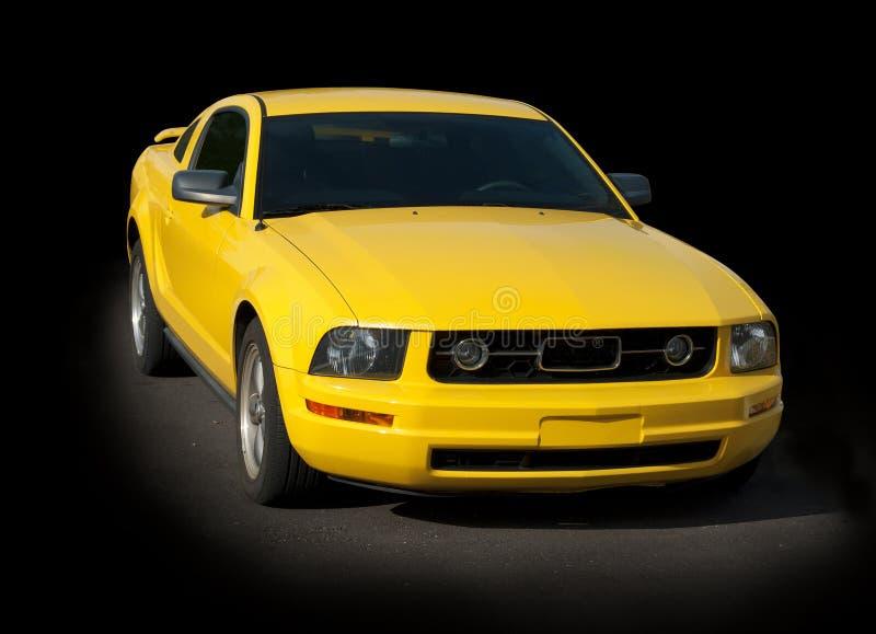 Carro desportivo amarelo da haste quente fotos de stock