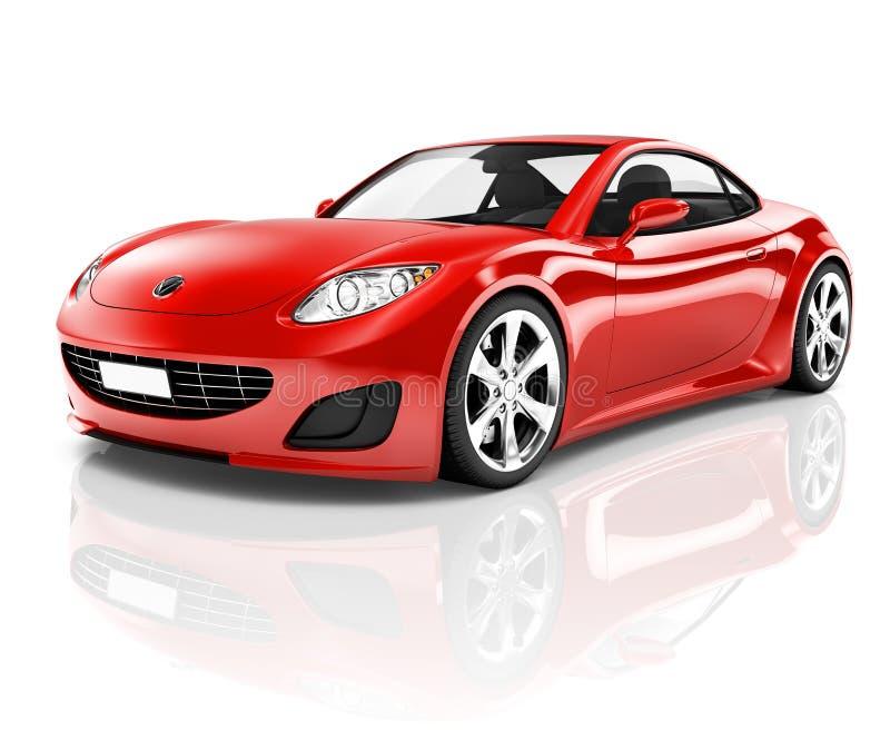 carro desportivo 3D vermelho no fundo branco ilustração stock