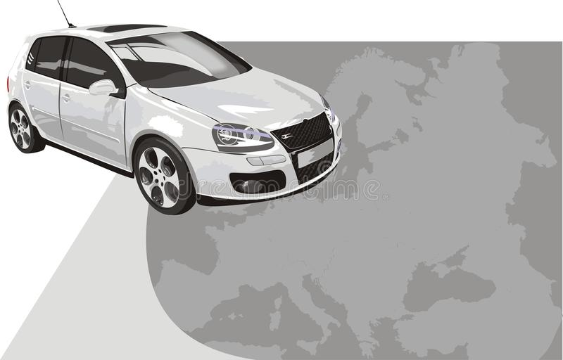 Carro desportivo da cor branca. Fundo para o cartão ilustração do vetor