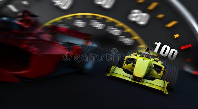 Carro desportivo da fórmula 1 na ação ilustração do vetor