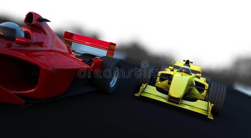 Carro desportivo da fórmula 1 na ação ilustração stock