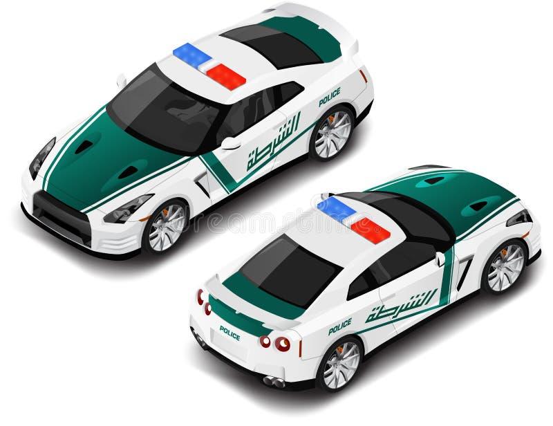 Carro desportivo de alta qualidade isométrico da polícia do vetor Ícone da polícia Tradução de texto ilustração stock