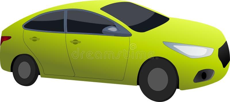 Carro desportivo verde-amarelo ilustração stock