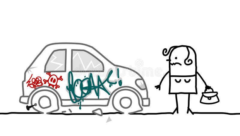 Carro destruído ilustração do vetor
