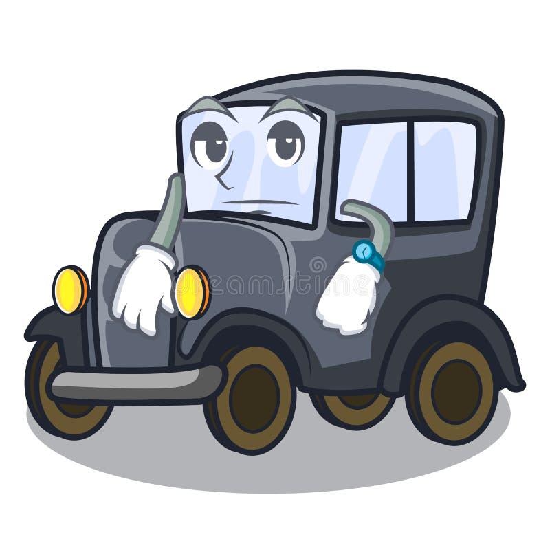 Carro diminuto velho de espera na mascote da forma ilustração royalty free