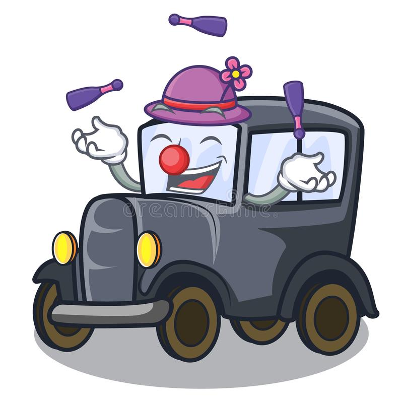Carro diminuto velho de mnanipulação na mascote da forma ilustração do vetor