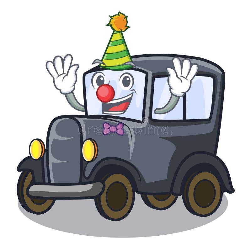 Carro diminuto velho do palhaço na mascote da forma ilustração stock