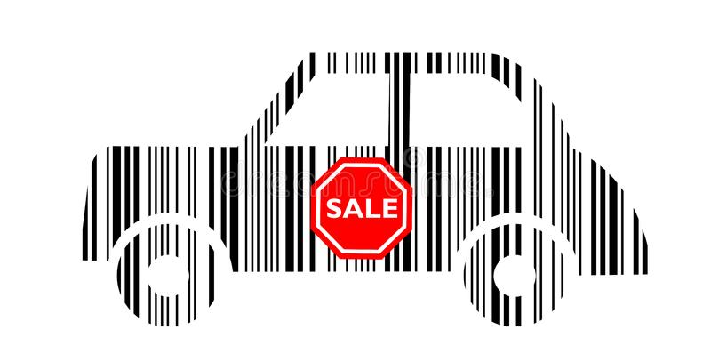 Carro do código de barras com etiqueta da venda imagens de stock