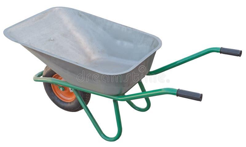 Carro do carrinho de mão do jardim isolado no branco foto de stock royalty free