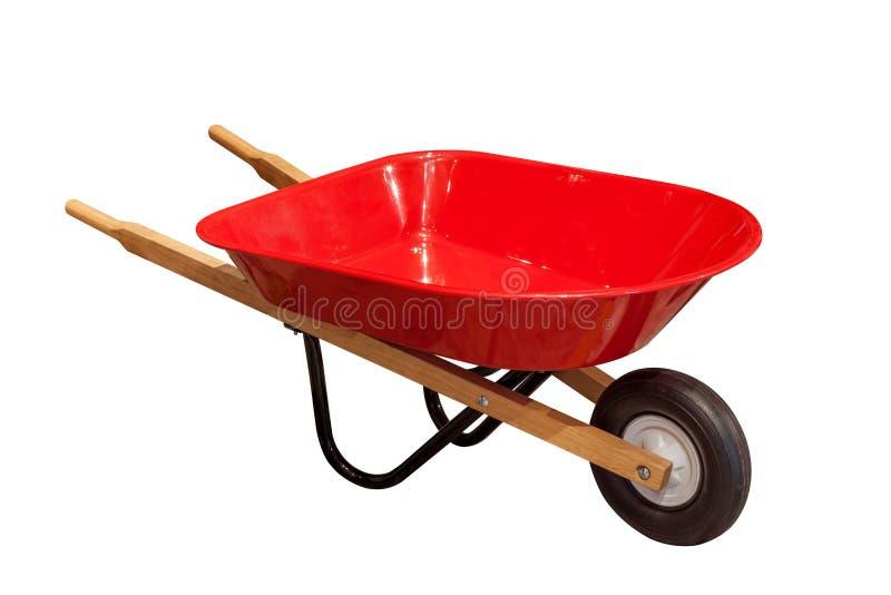 Carro do carrinho de mão do jardim isolado no fundo branco imagem de stock royalty free