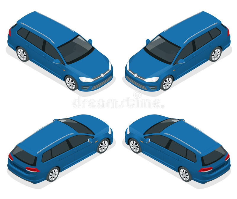 carro do carro com porta traseira 5-door isolado Ícones isométricos do vetor ajustados Molde no fundo branco A capacidade para mu ilustração royalty free