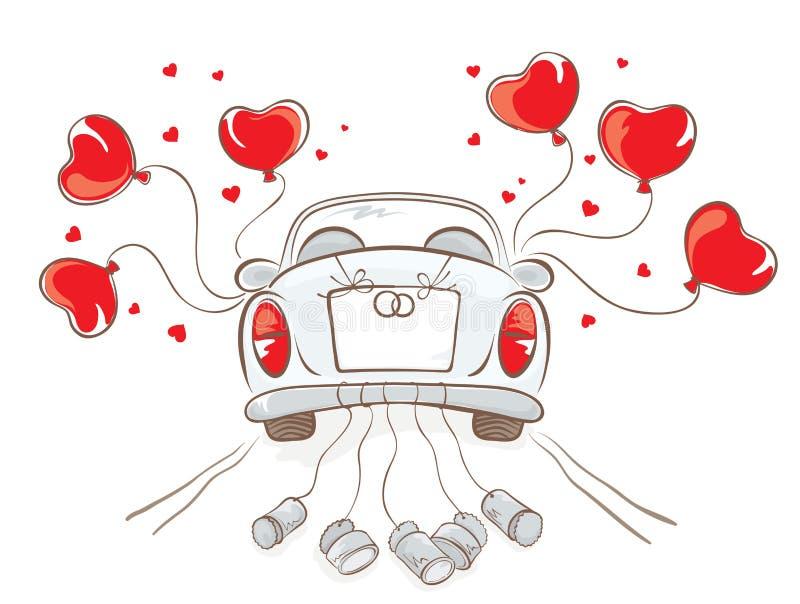 Carro do casamento ilustração stock