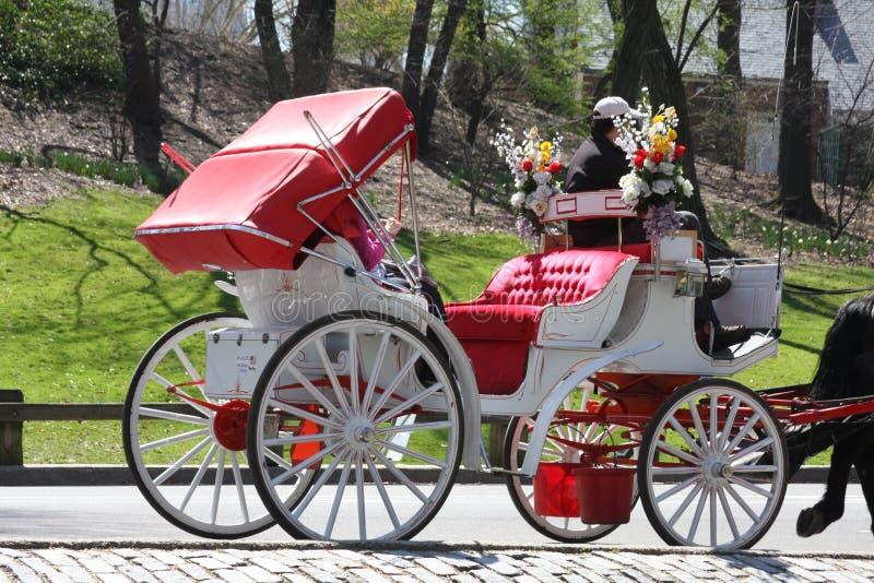 Carro do cavalo de Central Park, New York fotos de stock royalty free