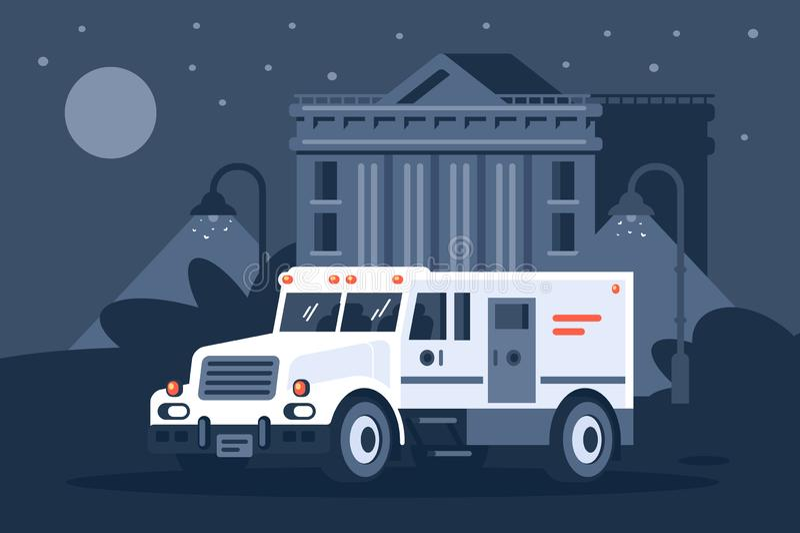 Carro do coletor s ao lado do banco a pretexto da noite ilustração stock