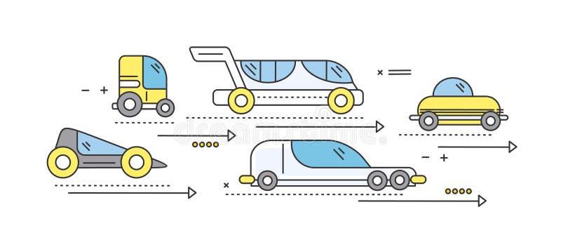 Carro do conceito do transporte rodoviário futuro ilustração royalty free