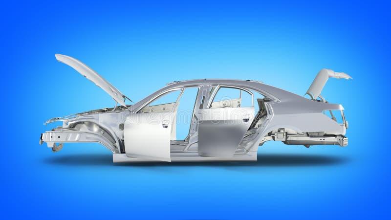 Carro do corpo sem a roda na opinião lateral grasdient azul do fundo 3d ilustração do vetor