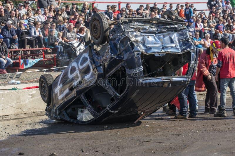 Carro do derby da demolição na parte superior fotografia de stock
