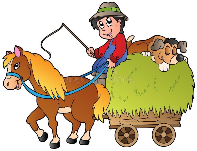 Carro do feno com fazendeiro dos desenhos animados ilustração stock