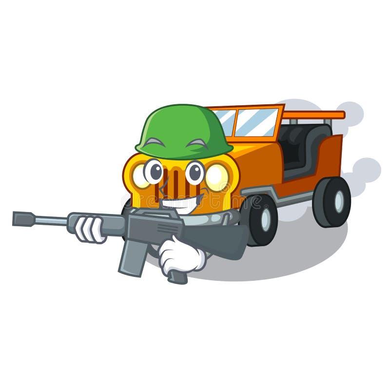 Carro do jipe do exército isolado com os desenhos animados ilustração stock
