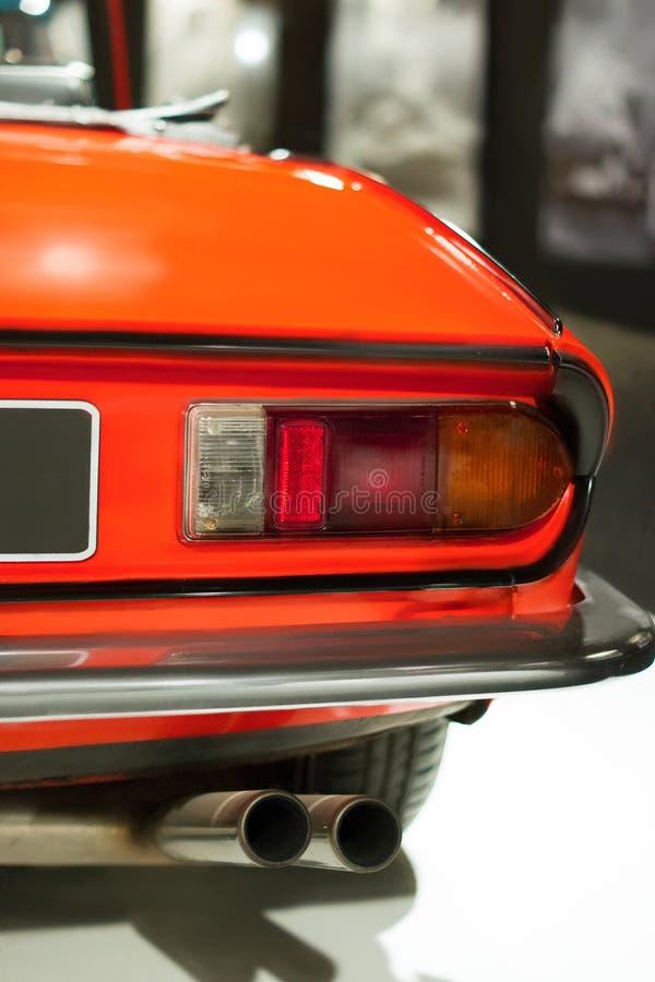 Carro do luxo do vintage Lanterna traseira e peça do amortecedor Esporte autpmotive imagens de stock