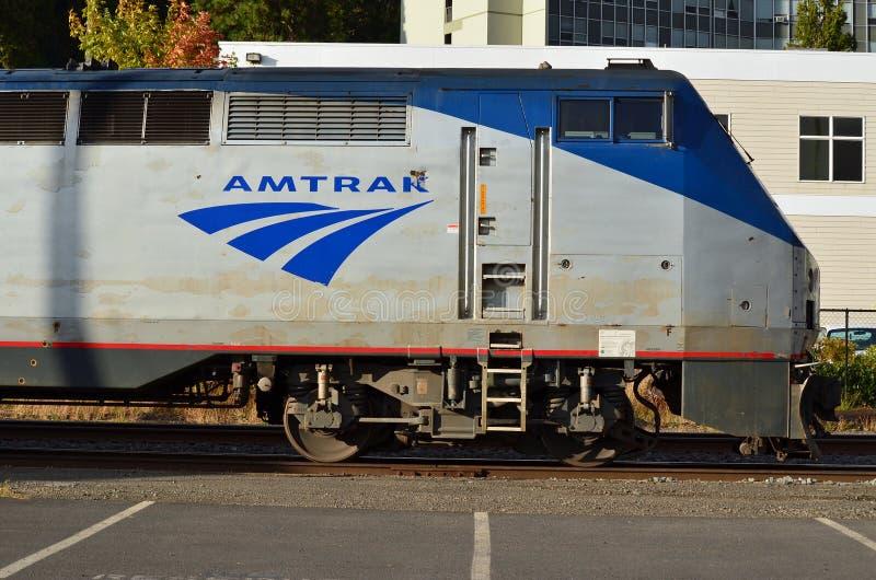 Carro do motor do trem de Amtrak foto de stock