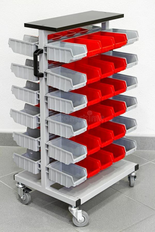 Carro do organizador do armazenamento fotografia de stock
