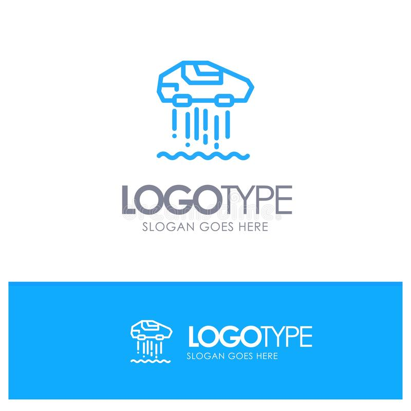 Carro do pairo, pessoal, carro, esboço azul Logo Place da tecnologia para o Tagline ilustração do vetor