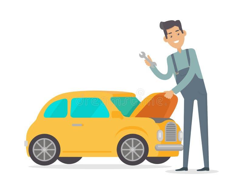 Carro do reparo do homem Auto mecânico Isolated no branco ilustração royalty free