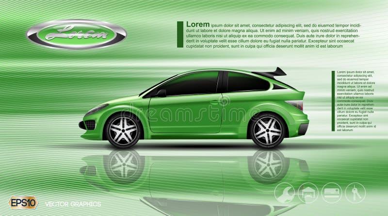Carro do verde do vetor de Digitas com o modelo preto das janelas ilustração stock