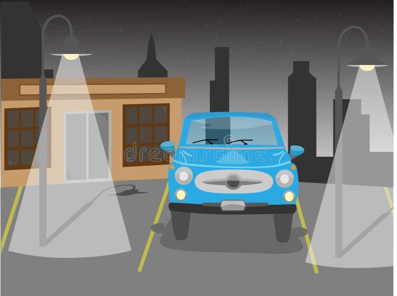 Carro do vetor no estacionamento na noite ilustração do vetor