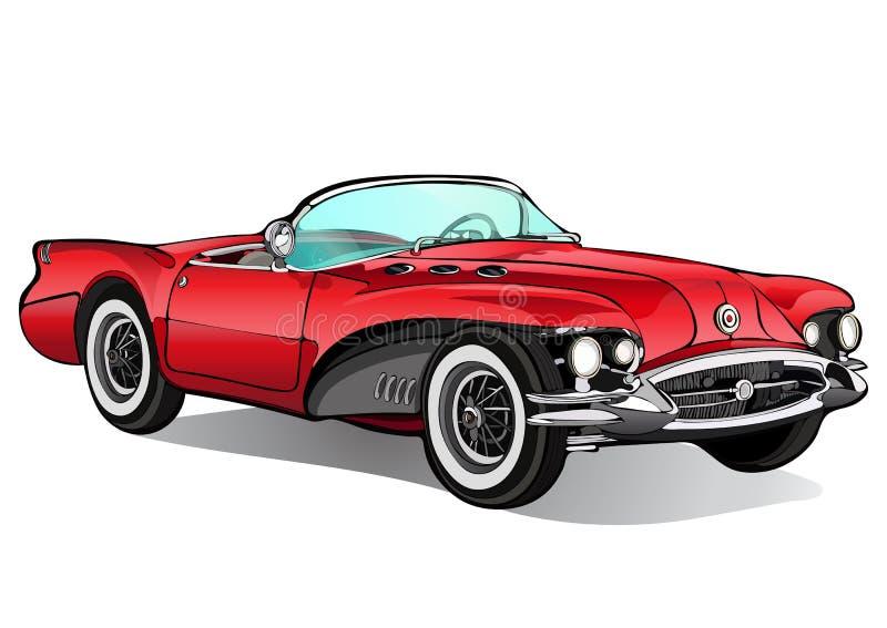 Carro do vintage Convertible vermelho retro sem um telhado com sombra Ilustração do vetor ilustração stock