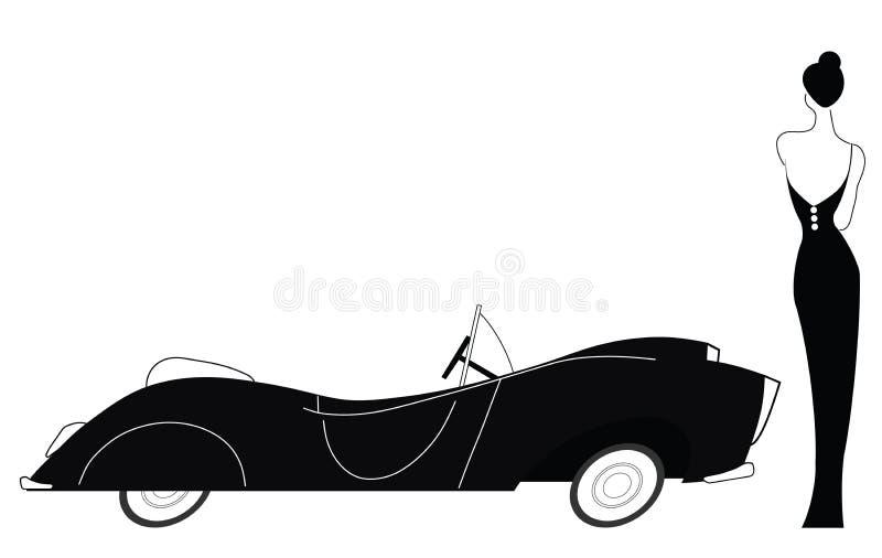 Carro do vintage e senhora à moda ilustração stock